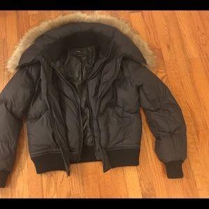 BCBG Max AZRIA jacket with raccoon fur for trim